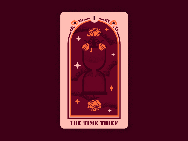 Right Reasons Tarot 1: The Time Thief texture design tarot deck card deck vector rose hourglass time right reasons bachelorette bachelor tarot illustration