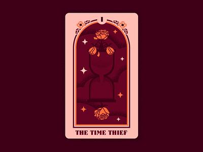 Right Reasons Tarot 1: The Time Thief texture design tarot deck card deck vector rose hourglass time right reasons bachelorette bachelor tarot illustration