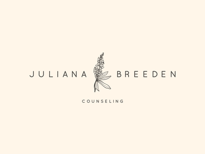 Juliana Breeden Counseling Logo brand design identity logomark counseling therapy clean simple typography drawing illustration botanical lupine flowers logo branding