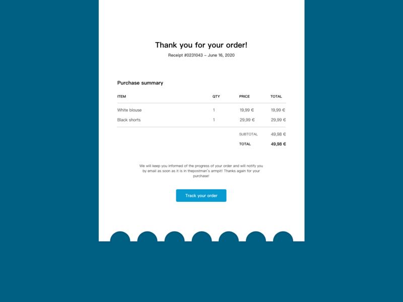 Email Receipt receipt order email ux ui 017 dailyui dailyui017 email receipt