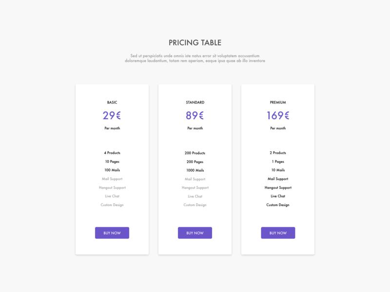 Pricing simple design adobexd ux ui pricing dailyui030 dailyui 030
