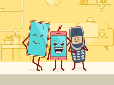 Big, Feeloo, Oldy team adventure smartphone sketchapp illustration