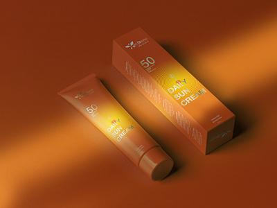 DAILY SUN CREAM - PACKAGING packaging mockup packaging design packagingdesign badiing idea packaging graphic design graphic design branding