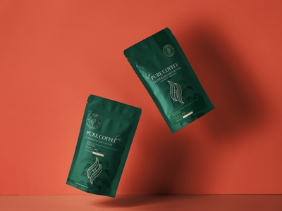 H PURE COFFEE (Logo - Packaging) typography packaging mockup packaging design packagingdesign packaging badiing graphic design graphic design branding