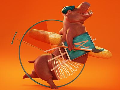 Un Hippopotame Volant Des Baguettes visualart surrealismart digitalvisual 3dillustration 3dart animation