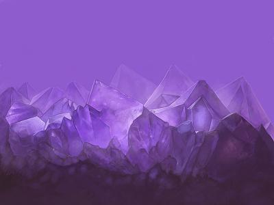 Amethyst crystals purple concept art painting digital