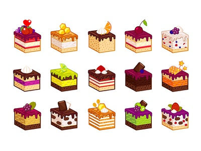 Cake Slices design appler isometry flat food cake pastry sweets