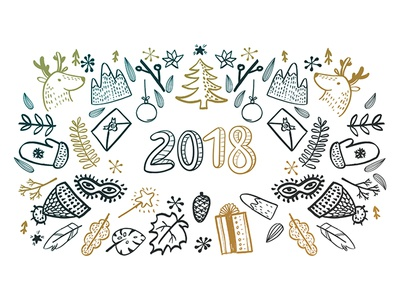 Sketchy Vector Hand Drawn New Year new year illustration art doodle 2018