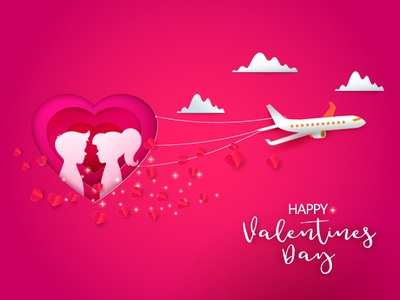 Valentines airplane paper cut out paper cut love kids couple heart web banner vector papercut fly airplane
