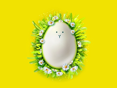 Easter Face realistic illustration design character vector 3d egg easter