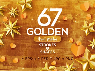 Gold! hand drawn print web texture collection set brush stroke golden gold