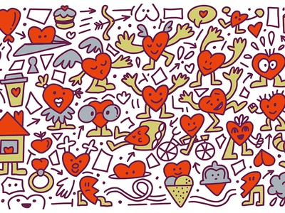 Valentine's Day Doodles illustration vector kids character valentines cute heart doodle