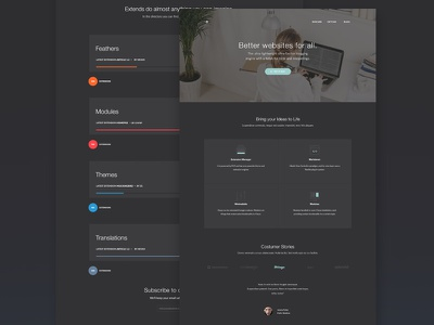Landing & Extend page for a blog engine. colorful category webdesign page ui ux web extend landing engine blog