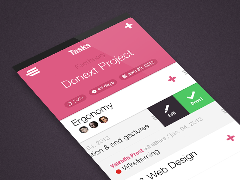 Donext - Collaborative ToDo List donext projects ui mobile iphone ios app factheory to-do to-do list