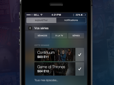 iOS 8 Notification Center tv show notifications notification center ios8 ios got cinema iphone widget apple series séries