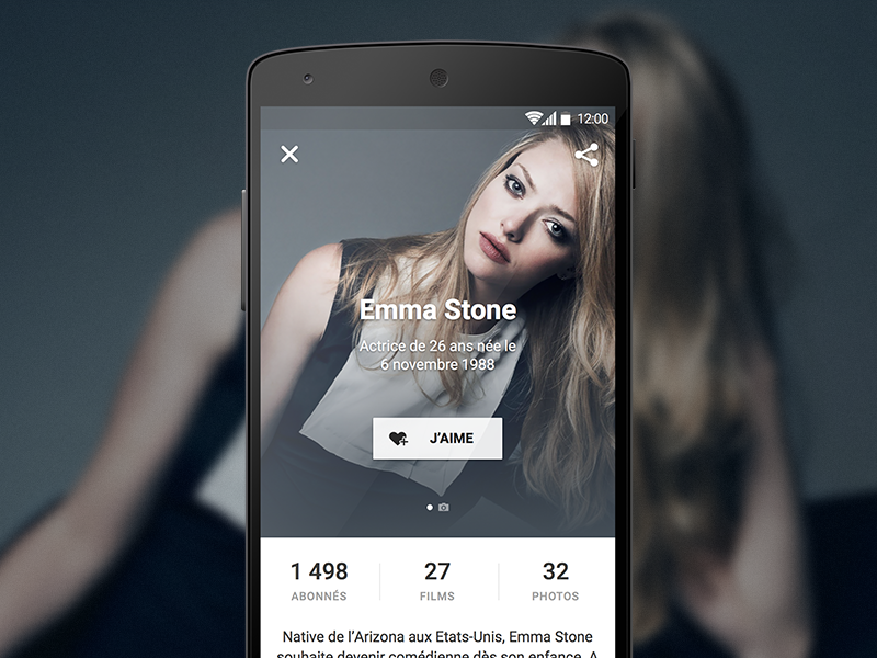 Actors screen for Android material design app theater cinema movies stone actor cinémur lollipop ciné-loisirs android