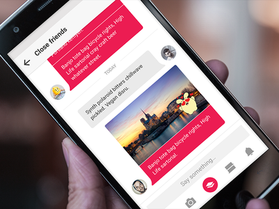 Group conversation oneplus psd mockup pink social messaging chat material app android ux ui