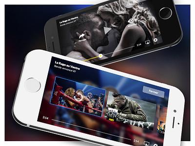 Video player + queue (WIP) cover ux ui trailers iphone cinema movies cinemur ios queue player video