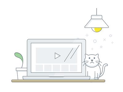 Empty states illustration illustrator sketch drawing desk macbook cat illustration empty states