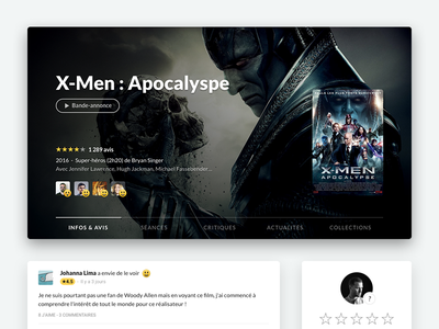 UI update on Ciné-Loisirs social friends rating showtime theater film media center movies update ui cinemur