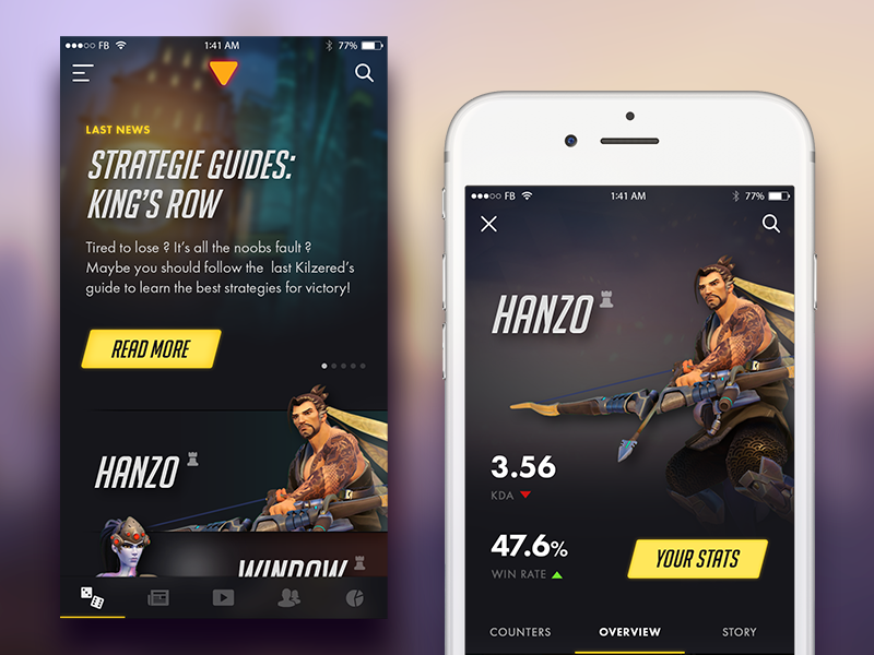 Overwatch iPhone App. statistiques stats strategies game video game ios iphone overwatch