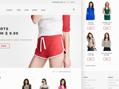 Fashion listing page clothes type minimal store prototype design hover hm ux ui web fashion