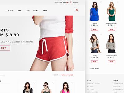 Fashion listing page clothes type minimal store prototype design hover hm ux ui web fashion