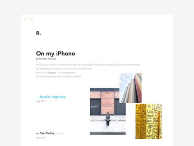 On my iPhone typography minimal grid photo web responsive ux ui photography travel