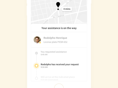 Roadside Assistance Tracking interaction insurance ux ui map assistance timeline tracking