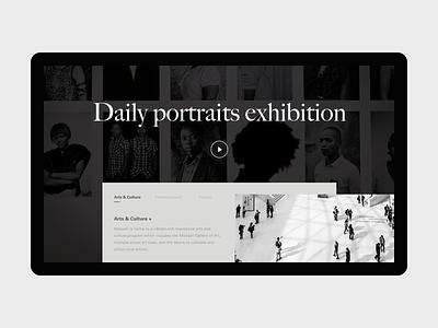 Museum Details website landing page ux design black ui typography grid exhibition museum