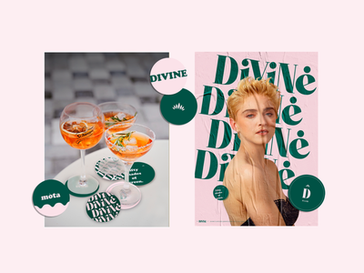 Divine Club - Communication weed logo branding content drinks green pink coaster coasters communication weed club divine brand madonna