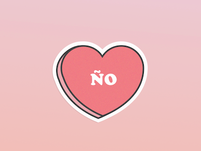 Nope! icon gradient illustration spanish ño nope no candy heart valentines