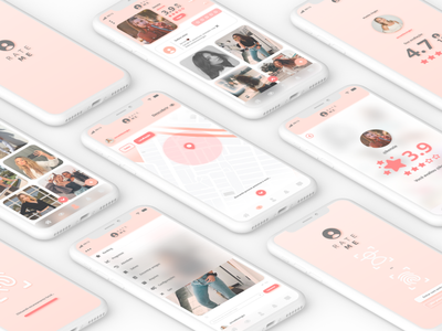 Rate Me | UI Design clear clean white pink uidesign ui  ux ui design social media app social app app rate me black mirror social media socialmedia social media design social network transparent design ux ui
