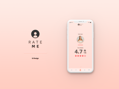 Rate Me | UI Design clean ui social network social media app socialmedia social app rate me pink app black mirror