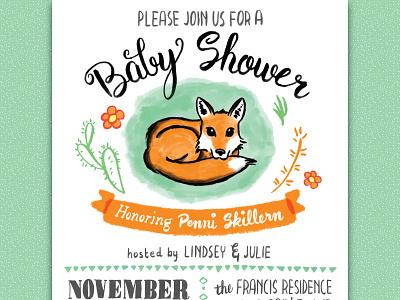 I'm gonna' be a dad! baby shower invitation fox illustration hand lettering brush pen