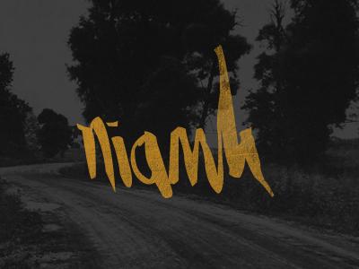 Niamh lettering orange black hand-drawn