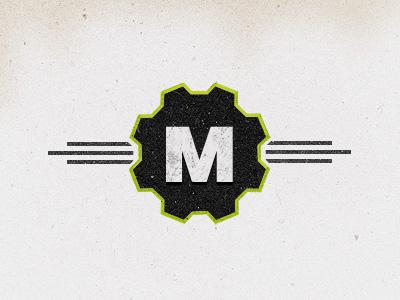 Mechanikum logo emblem green retro vintage grunge texture