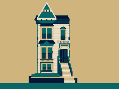 People Who Live in Stone Houses Shouldn't Thow Glass house illustration vector san francisco home building