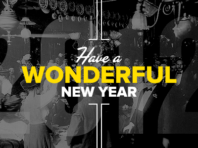 Happy 2012! new year newyear proxima vintage typography yellow black white las vegas knockout