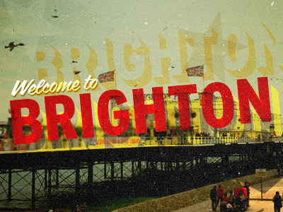 Brighton brighton pier sea letterpress print red orange yellow trade gothic coffee service retro vintage typography