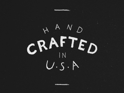 Hand Crafted black white hand typography lettering usa
