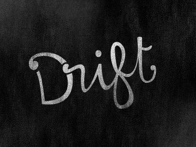 Drift lettering typography black white grunge print texture