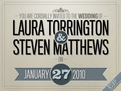 You're Invited! wedding invite invitation love marriage titling clarendon brown retro vintage blue pattern