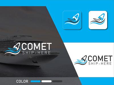 COMET-Ship logo branding flat logodesign river rocket rocket logo a b c d e f g h i j k l m graphic design ap ui branding clean icon minimal logo design logo ship logo