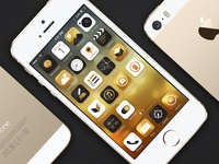 Concept Iphone Gold UI + Free icon