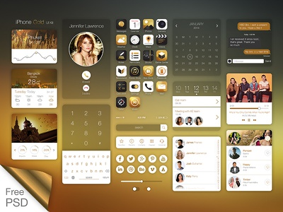 Iphone Gold Ui Kit +Free PSD ui ux design concept app clean minimal interface mobile iphone ui kit