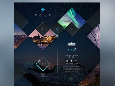 Square Zone for traveling and weather forecast design clean web ux ui interface black blue grey website minimal web design
