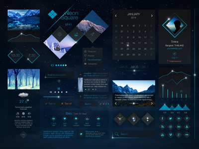 Neon Square UI Kit ui ux design concept app interface web website black dark blue ui kit