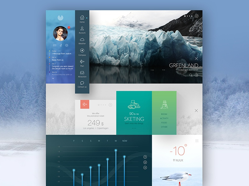Bino ui ux design concept web clean minimal website tourist weather white black