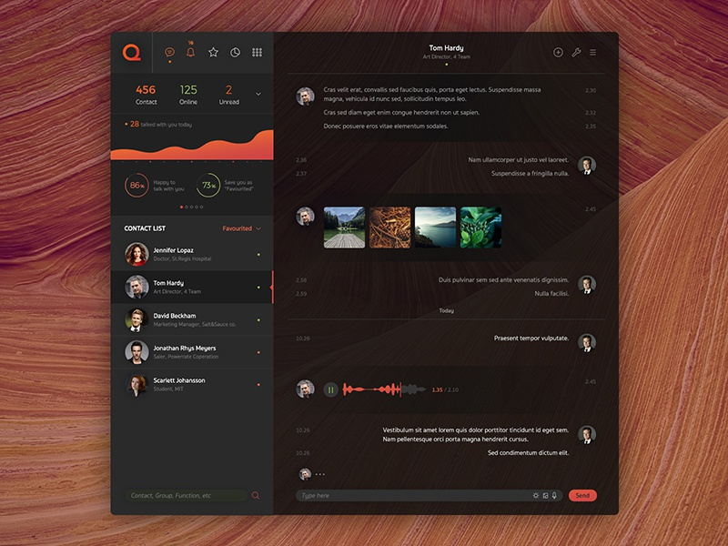 Que Chat ui ux concept design web app application website dark black interface red